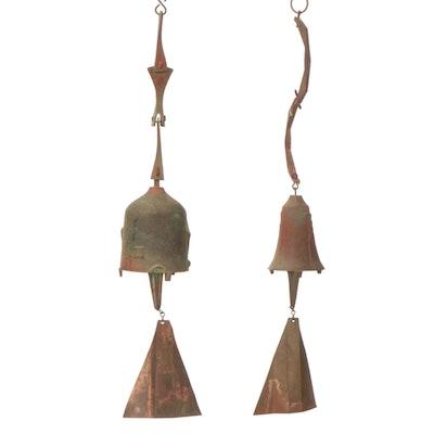 Cosanti Patinated Bronze and Copper Windbells