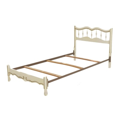 French Provincial Style Painted Wood Twin Size Bed Frame