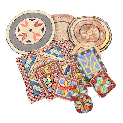 Handmade Cross-Stitch, Hooked, and Other Needlework Coasters, Trivets, and Mats