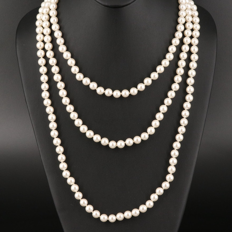 Henri Bendel Faux Pearl Rope Necklace