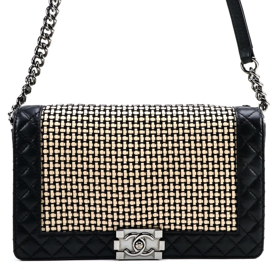 Chanel New Medium Boy Bag in Quilted Black Lambskin and Patent Leather Tweed