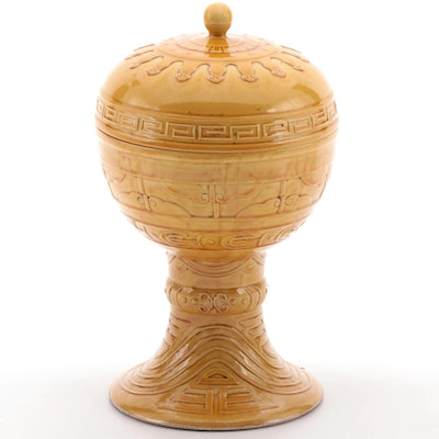 Chinese Guangxu Yellow-Glazed Porcelain Archaistic Dou Covered Temple Vessel