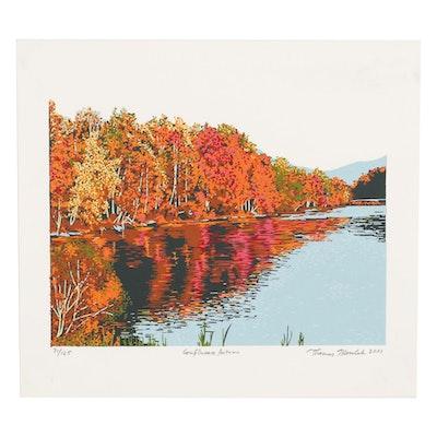 "Thomas Norulak Serigraph ""Confluence Autumn,"" 2001"