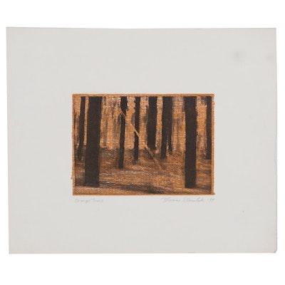 """Thomas Norulak Etching """"Orange Trees,"""" 1999"""