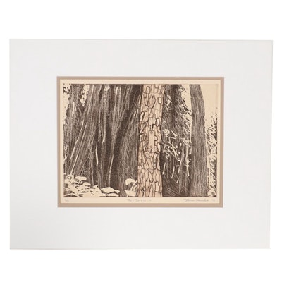 "Thomas Norulak Etching ""Trail Marker - 4,"" 1996"