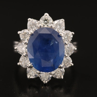 14K 8.79 CT Sapphire and 1.98 Diamond Halo Ring with GIA Report