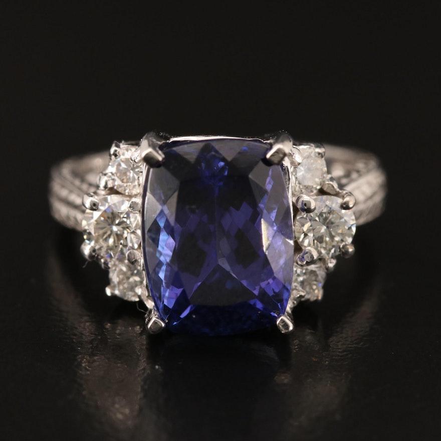 14K 6.31 CT Tanzanite and Diamond Ring