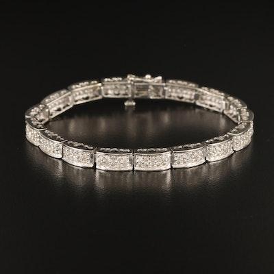 14K 2.00 CTW Diamond Double Row Bracelet with Heart Gallery