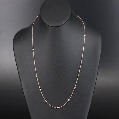 14K 1.00 CTW Diamond Bezel Set Station Necklace
