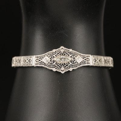 Vintage 14K Diamond Openwork Bracelet