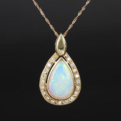 18K 2.73 CT Australian Opal and Diamond Teardrop Pendant Necklace