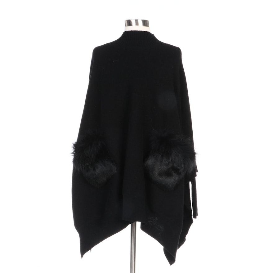 Mitchie's Black Wool Fox and Rabbit Fur Trimmed Sweater Poncho with Merchant Tag