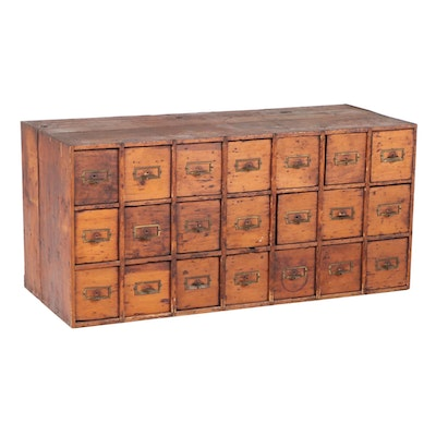 American Pine Twenty One-Drawer Card File Cabinet, Early 20th Century
