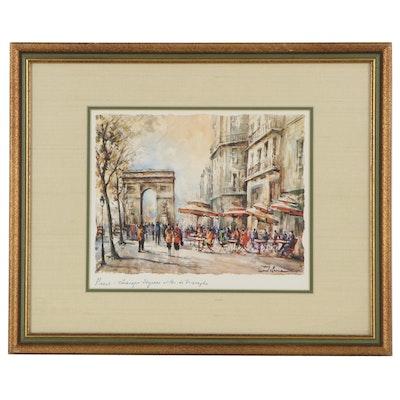 Giclée of Parisian Street Scene after Lucien Delarue, 21st Century