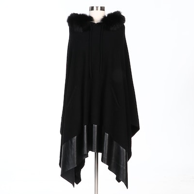 Mitchie's Black Wool Knit Dyed Fox Fur Trimmed Hooded Poncho with Merchant Tag