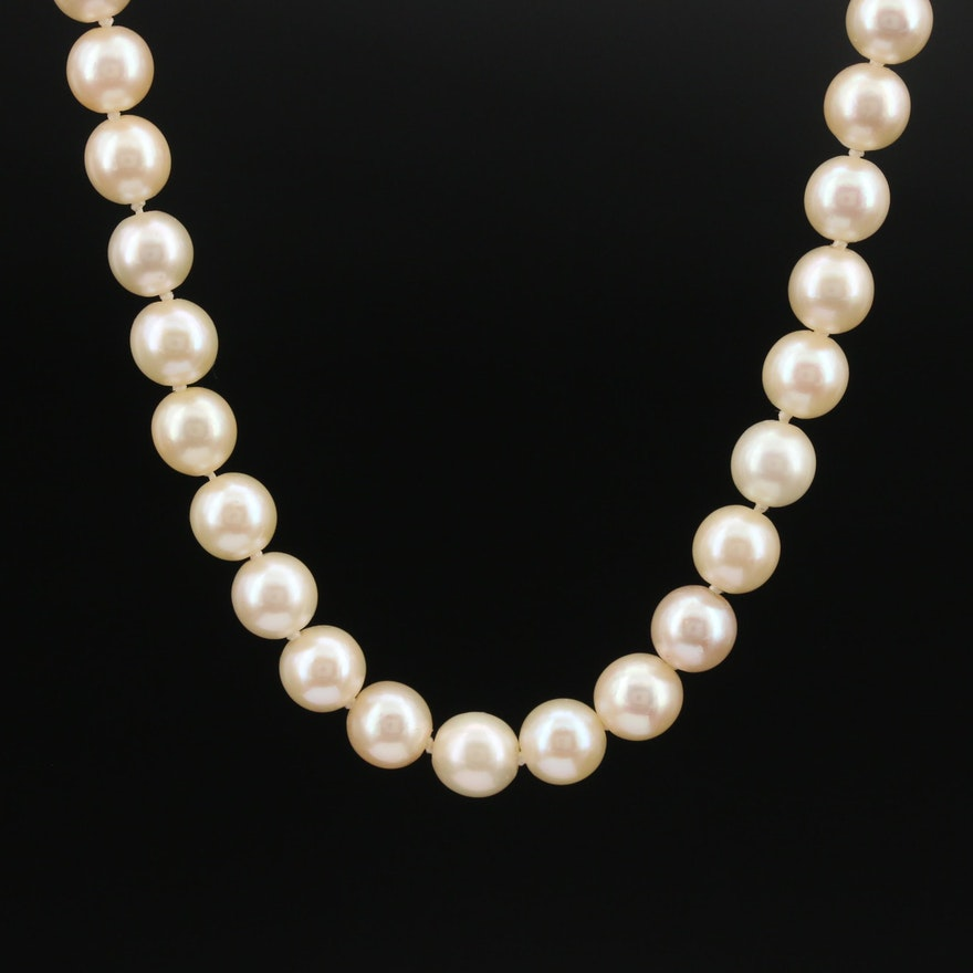 Pearl Necklace with 18K Diamond Clasp