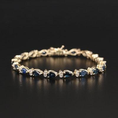 14K 8.31 CTS Sapphire and Diamond Bracelet