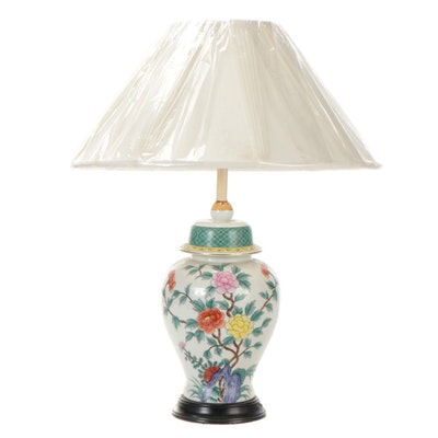 Chinese Porcelain Peony Motif Temple Jar Table Lamp with Pleated Shade