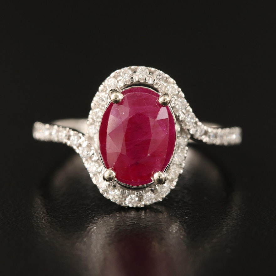 14K Diamond and 2.23 CTS Ruby Ring