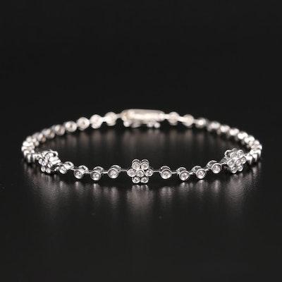 18K Diamond Flower Station Bracelet