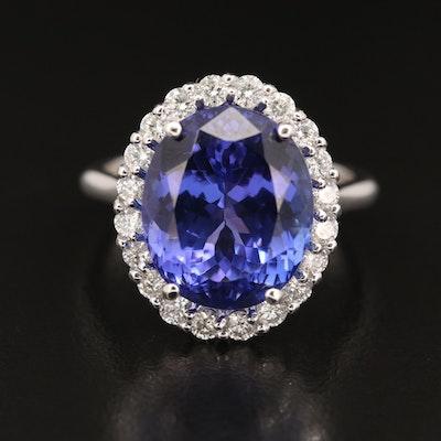 14K 8.68 CT Tanzanite and Diamond Halo Ring