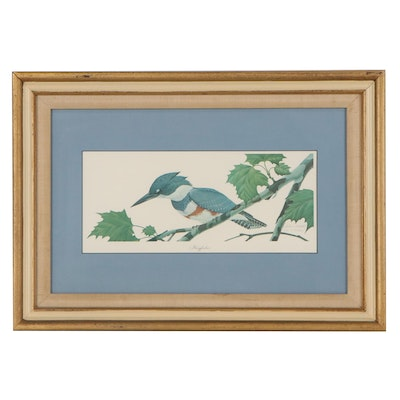 """John A. Ruthven Offset Lithograph """"Kingfisher,"""" Late 20th Century"""