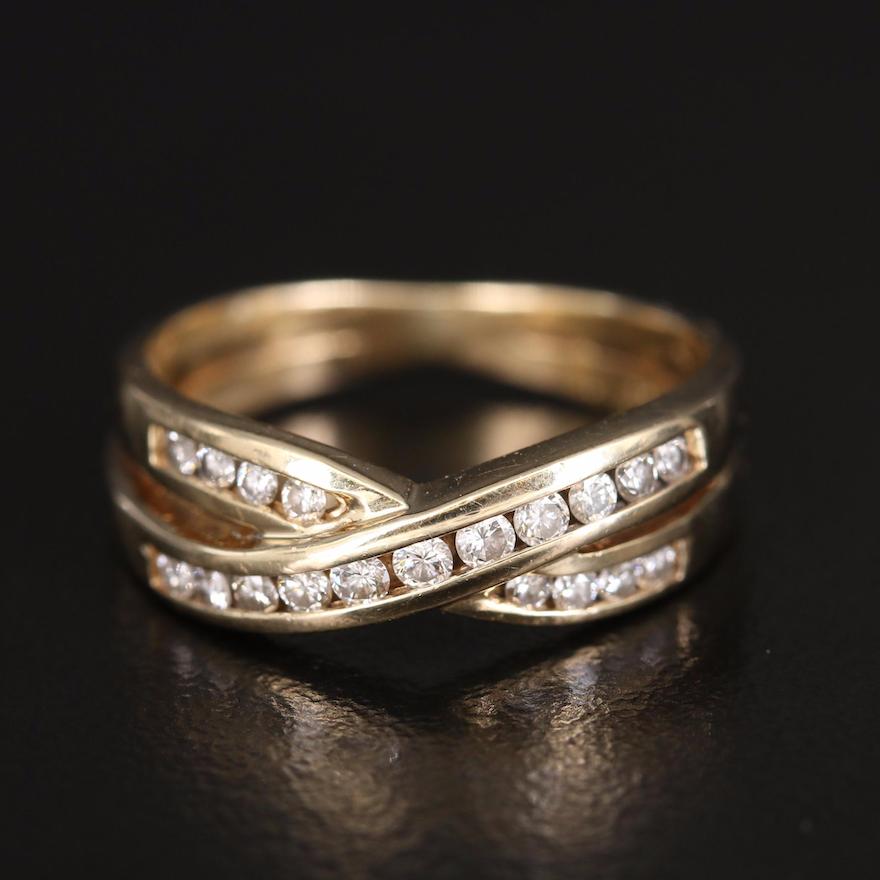 10K Diamond Criss-Cross Ring