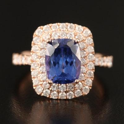 14K 3.16 CT Tanzanite and 1.49 CTW Diamond Double Halo Ring