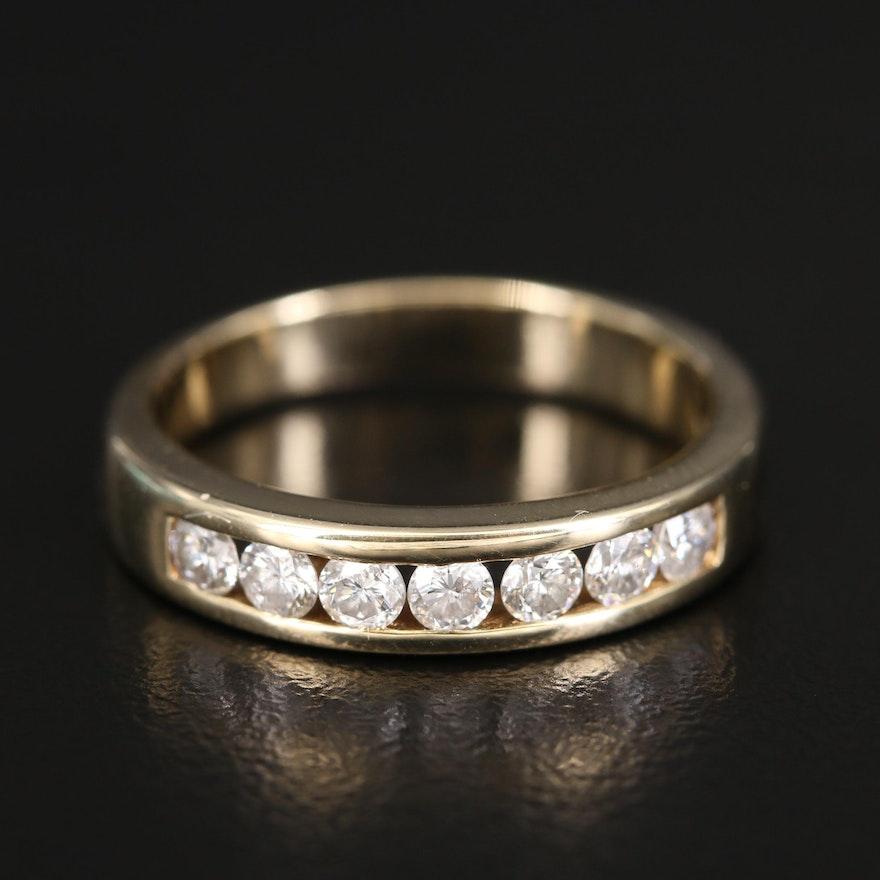 14K Diamond Channel Ring
