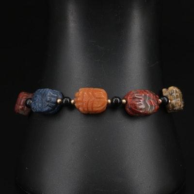Carved Unakite, Jasper and Sodalite Bracelet