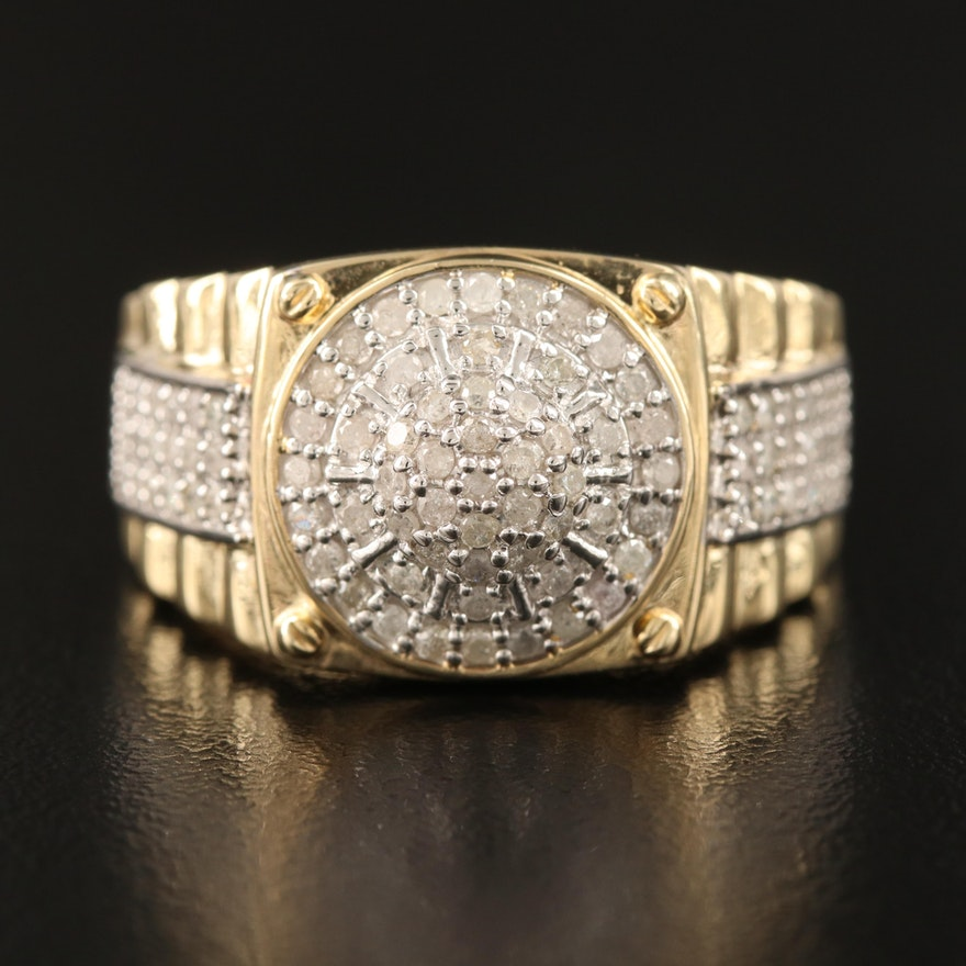 10K Diamond Cluster Dome Ring
