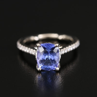 18K 1.68 CT Tanzanite and Diamond Ring