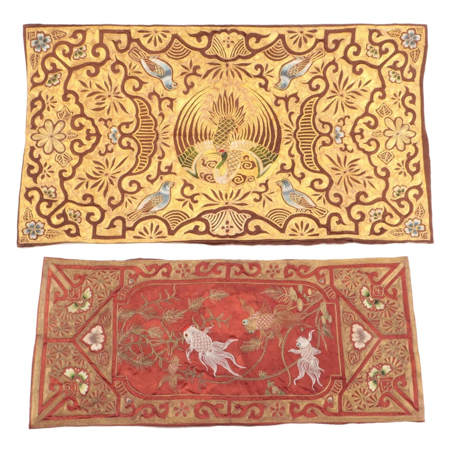 Chinese Embroidered and Metal Couching Silk Panels of Goldfish and Birds