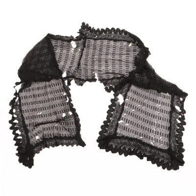 Floral Black Lace Scarf, Late 19th to Early 20th Century