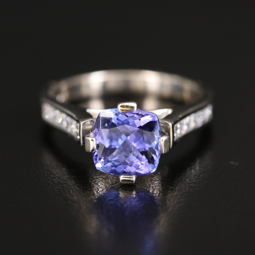 14K 2.04 CT Tanzanite Cathedral Ring with Diamond Channel Shoulders