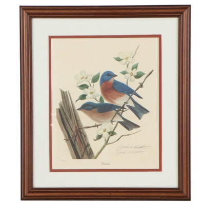 "John A. Ruthven Offset Lithograph ""Bluebirds,"" Late 20th Century"