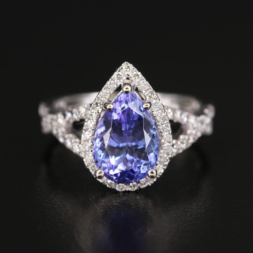 14K Diamond and 2.73 CTS Tanzanite Teardrop Halo Ring