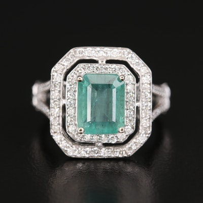 14K Diamond and 2.32 CTS Emerald Double Halo Ring