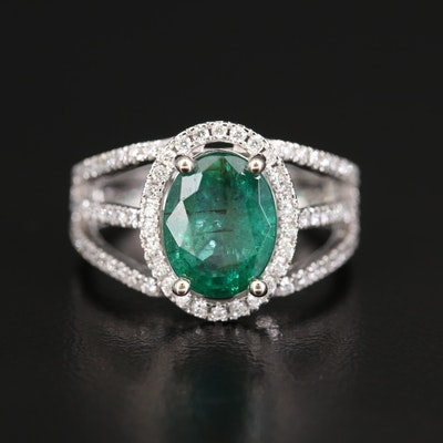 14K Diamond and 2.80 CTS Emerald Halo Ring