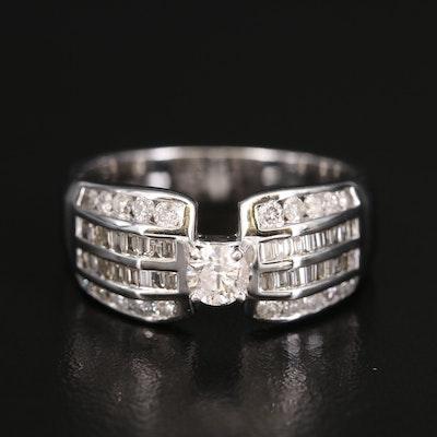 14K Diamond Multi-Row Ring