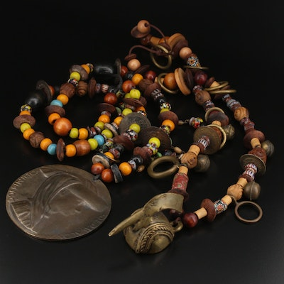 Lenore Szesko Trade Bead Necklaces Featuring Mossi Tribe Miniature Mask Pendant