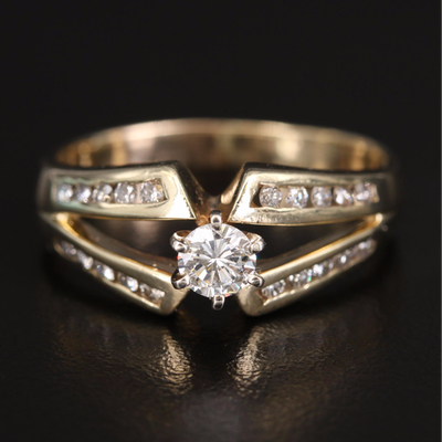 14K Diamond Ring with Split Shank