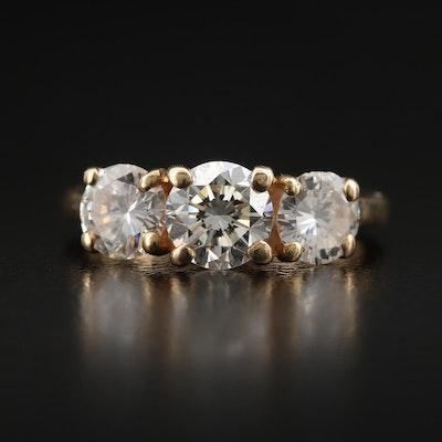 14K 1.82 CTW Diamond Three Stone Ring