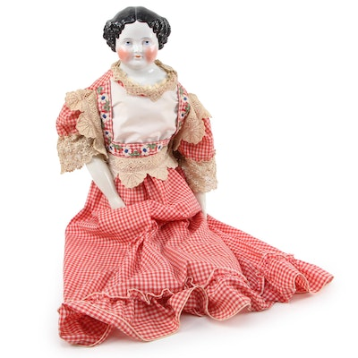 Emma Porcelain Doll with Cloth Body and Porcelain Arms, 1860s