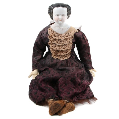"""Porcelain """"Mary Todd"""" Style Doll, 20th Century"""