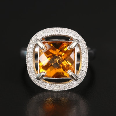 14K Diamond and 2.60 CTS Citrine Halo Ring