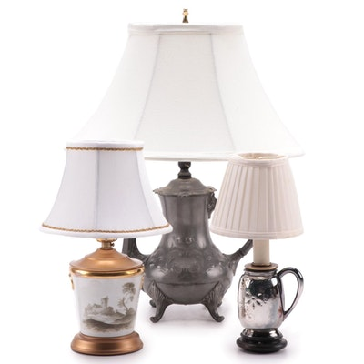 Pewter Teapot, Silver Plate Mug, and Porcelain Cachepot Converted Table Lamps
