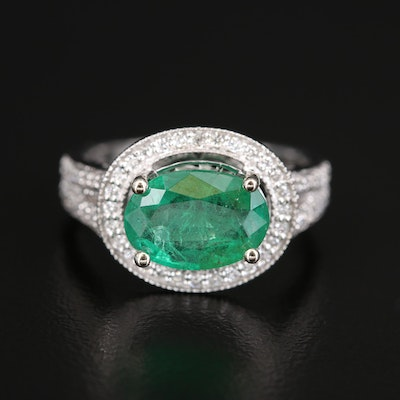 14K Diamond and 2.02 CTS Emerald East-West Halo Ring