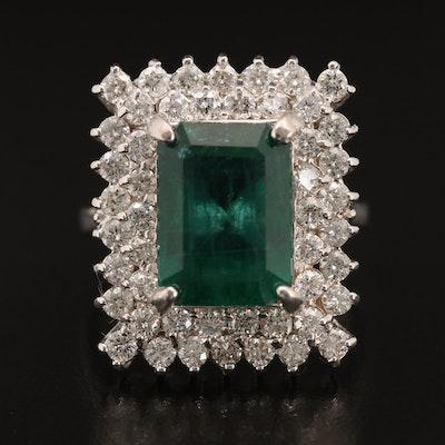 18K 4.28 CT Emerald and 1.44 CTW Diamond Ring