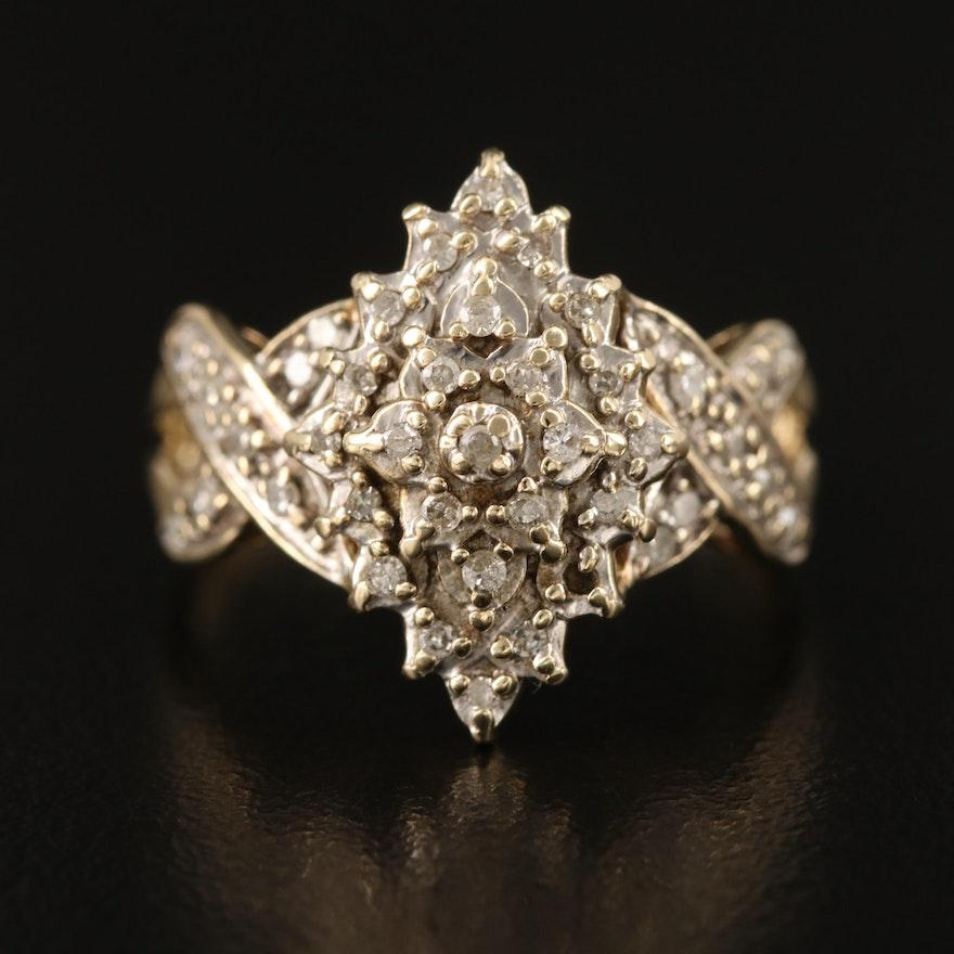 10K Diamond Navette Ring